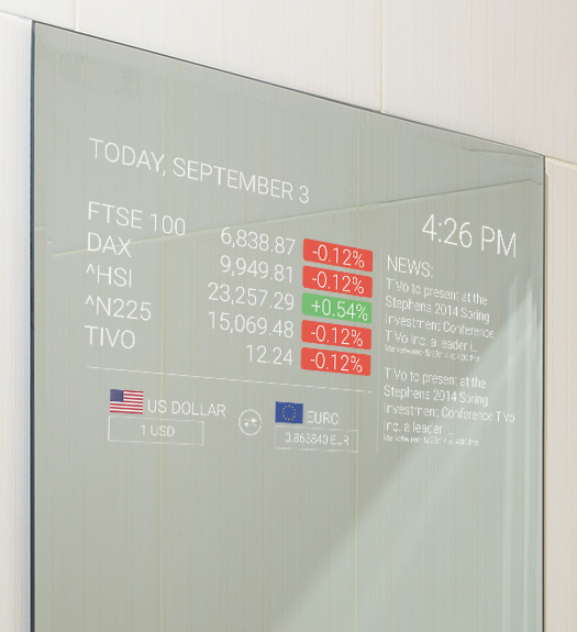 Mirror Feeds Application Installed on a smart mirror