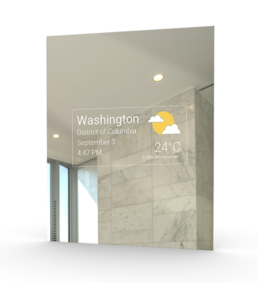 Mirror Feeds Application showing time and weathee updates in Washington