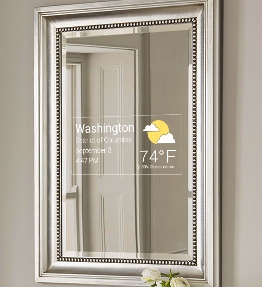 Mirror Feeds Appplication installed on a framed smart mirror or mirror tv