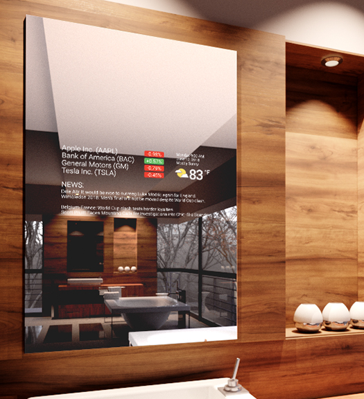 Mirror Feeds Application Installed on a smart mirror in a bathroom